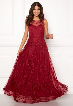 Goddiva Embroidered Maxi Dress Wine Bubbleroom.no