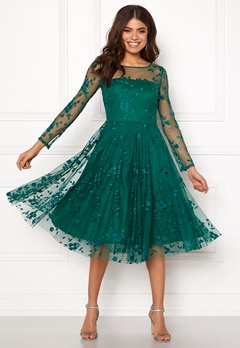 Goddiva Embroidered Midi Dress Emerald Bubbleroom.no
