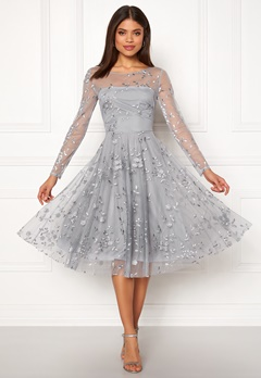 Goddiva Embroidered Midi Dress Grey Bubbleroom.no