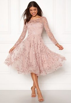 Goddiva Embroidered Midi Dress Misty Rose Bubbleroom.no