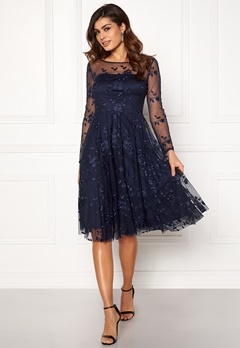 Goddiva Embroidered Midi Dress Navy Bubbleroom.no