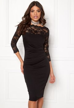 Goddiva Fitted Midi Dress Black Bubbleroom.no