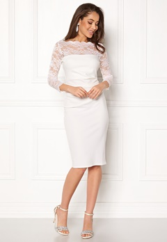 Goddiva Fitted Midi Dress White Bubbleroom.no