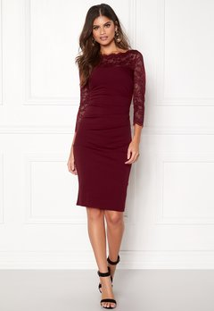 Goddiva Fitted Midi Dress Wine Bubbleroom.no