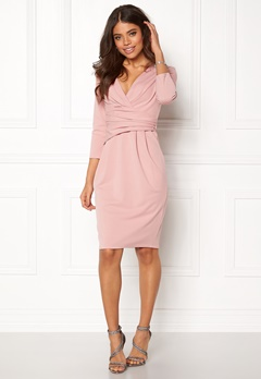 Goddiva Fitted Pleated Midi Dress Blush Bubbleroom.no