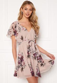 Goddiva Floral Flutter Dress Latte Bubbleroom.no