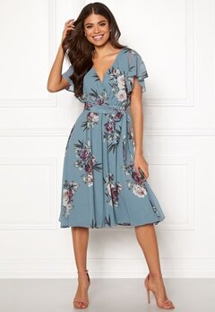 Goddiva Floral Flutter Midi Dress Air force Blue Bubbleroom.no