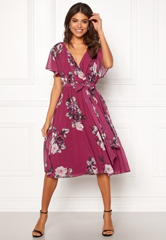 Goddiva Floral Flutter Midi Dress Berry Bubbleroom.no