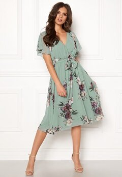 Goddiva Floral Flutter Midi Dress Duck Egg Bubbleroom.no