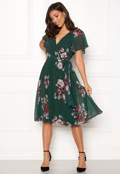 Goddiva Floral Flutter Midi Dress Green Bubbleroom.no