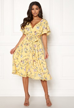 Goddiva Floral Flutter Midi Dress Lemon Bubbleroom.no