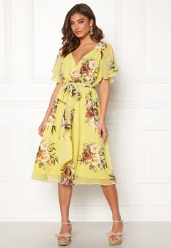 Goddiva Floral Flutter Midi Dress Soft Lemon Bubbleroom.no