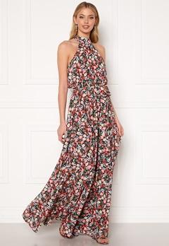 Goddiva Floral High Neck Maxi Dress Black Bubbleroom.no