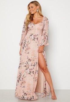 Goddiva Floral Long Sleeve Maxi Dress Blush bubbleroom.no