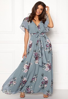 Goddiva Floral Sleeve Maxi Dress Air Force Blue Bubbleroom.no