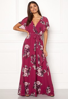 Goddiva Floral Sleeve Maxi Dress Berry Bubbleroom.no