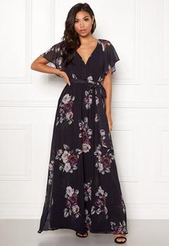 Goddiva Floral Sleeve Maxi Dress Black Floral Bubbleroom.no