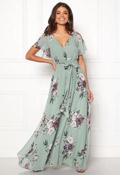 Goddiva Floral Sleeve Maxi Dress Duck Egg Bubbleroom.no