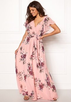 Goddiva Floral Sleeve Maxi Dress Peach Bubbleroom.no