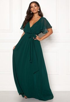 Goddiva Flutter Chiffon Dress Dark green Bubbleroom.no