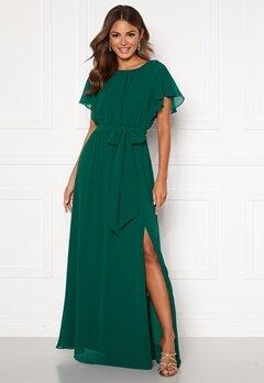 Goddiva Flutter Chiffon Dress Dark Green Bubbleroom.no