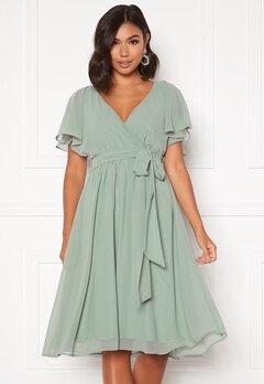 Goddiva Flutter Chiffon Dress Sage Green Bubbleroom.no