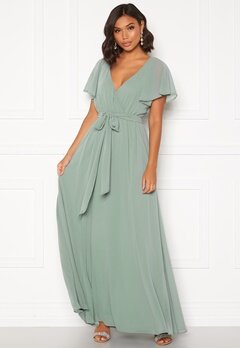 Goddiva Flutter Chiffon Dress Sage Green Bubbleroom.no