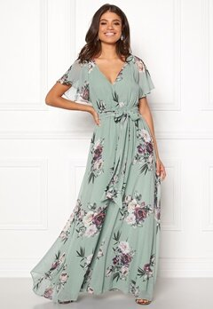 Goddiva Flutter Floral Maxi Dress Duck Egg Bubbleroom.no