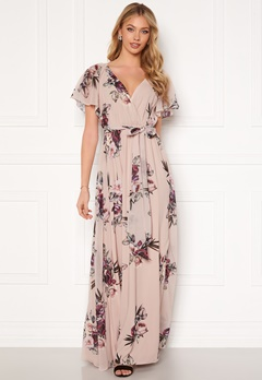 Goddiva Flutter Floral Maxi Dress Latte Bubbleroom.no