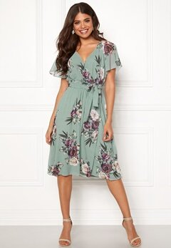Goddiva Flutter Floral Midi Dress Duck Egg Bubbleroom.no