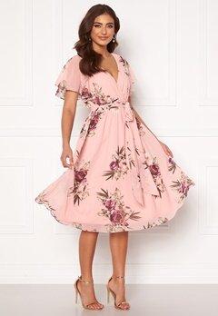 Goddiva Flutter Floral Midi Dress Peach Bubbleroom.no