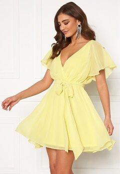 Goddiva Flutter Skater Dress Soft Lemon Bubbleroom.no