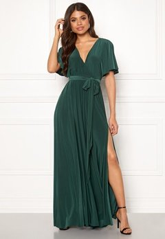 Goddiva Flutter Sleeve Maxi Dress Botanical Green Bubbleroom.no