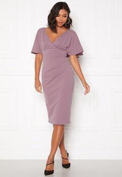 Goddiva Flutter Tie Waist Dress Dusty Lavendel Bubbleroom.no