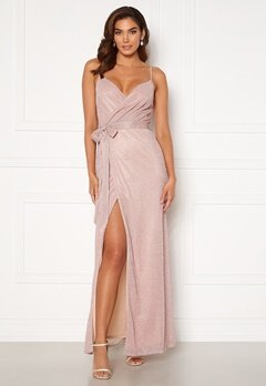 Goddiva Glitter Wrap Front Maxi Dress Blush<br>  Bubbleroom.no