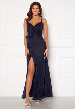 Goddiva Glitter Wrap Front Maxi Dress Navy<br>  Bubbleroom.no