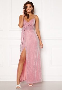Goddiva Glitter Wrap Front Maxi Dress Pink<br>  Bubbleroom.no