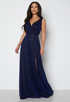 Goddiva Glitter Wrap Maxi Dress Navy bubbleroom.no