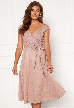 Goddiva Glitter Wrap Midi Dress Nude Bubbleroom.no