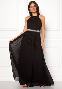 Goddiva Halterneck Chiffon Dress black Bubbleroom.no