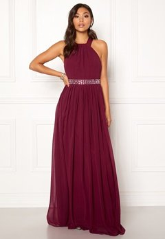 Goddiva Halterneck Chiffon Maxi Dress Berry Bubbleroom.no