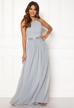Goddiva Halterneck Chiffon Maxi Dress Grey Bubbleroom.no