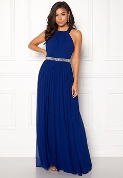 Goddiva Halterneck Chiffon Maxi Dress Royal Bubbleroom.no