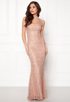 Goddiva High Neck Cut Out Lace Nude Bubbleroom.no