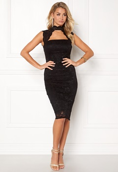 Goddiva High Neck Cut Out Midi Black Bubbleroom.no