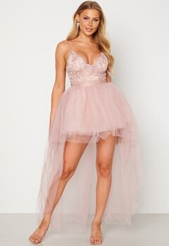 Goddiva Lace Bodice High Low Dress Nude bubbleroom.no