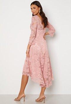 Goddiva Lace High Low Midi Dress Blush bubbleroom.no