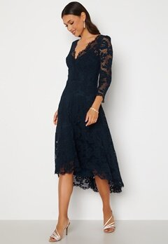 Goddiva Lace High Low Midi Dress Navy Bubbleroom.no