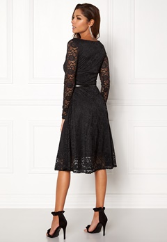 Goddiva Lace Skater Midi Dress Black Bubbleroom.no