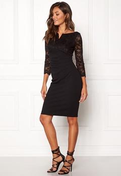 Goddiva Lace Top Midi Dress Black Bubbleroom.no